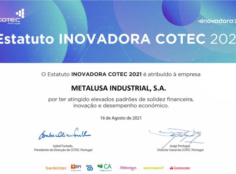 METALUSA reconnu avec le Statut de INOVADORA COTEC 2021